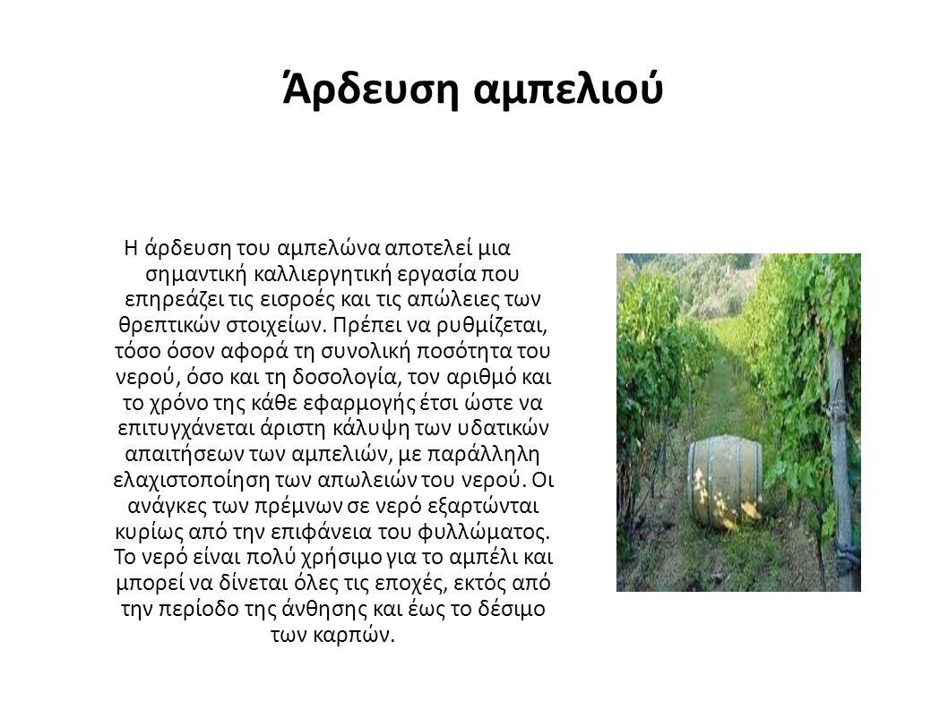 Άρδευση αμπελιού Η άρδευση του αμπελώνα αποτελεί μια σημαντική καλλιεργητική εργασία που επηρεάζει τις εισροές και τις απώλειες των θρεπτικών στοιχείων.