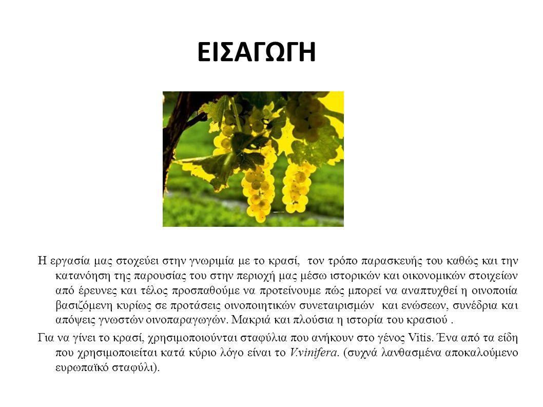 ΕΙΣΑΓΩΓΗ Η εργασία μας στοχεύει στην γνωριμία με το κρασί, τον τρόπο παρασκευής του καθώς και την κατανόηση της παρουσίας του στην περιοχή μας μέσω ιστορικών και οικονομικών στοιχείων από έρευνες και τέλος προσπαθούμε να προτείνουμε πώς μπορεί να αναπτυχθεί η οινοποιία βασιζόμενη κυρίως σε προτάσεις οινοποιητικών συνεταιρισμών και ενώσεων, συνέδρια και απόψεις γνωστών οινοπαραγωγών.
