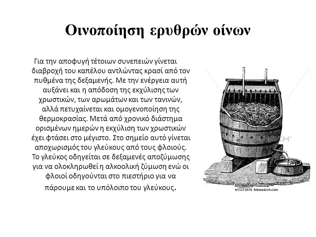Οινοποίηση ερυθρών οίνων Για την αποφυγή τέτοιων συνεπειών γίνεται διαβροχή του καπέλου αντλώντας κρασί από τον πυθμένα της δεξαμενής.