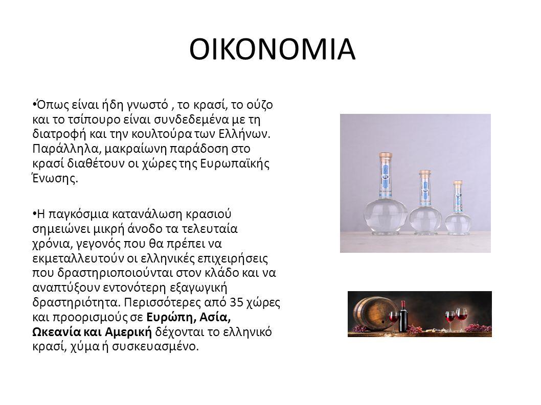 ΟΙΚΟΝΟΜΙΑ Όπως είναι ήδη γνωστό, το κρασί, το ούζο και το τσίπουρο είναι συνδεδεμένα με τη διατροφή και την κουλτούρα των Ελλήνων.