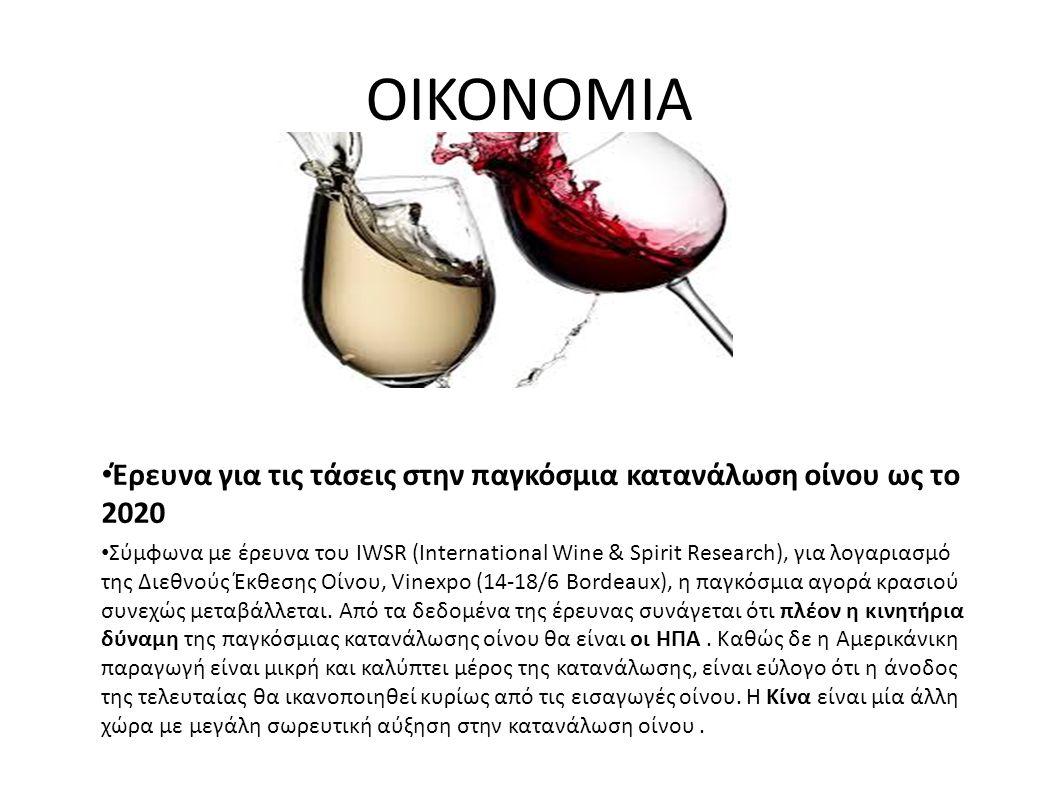 ΟΙΚΟΝΟΜΙΑ Έρευνα για τις τάσεις στην παγκόσμια κατανάλωση οίνου ως το 2020 Σύμφωνα με έρευνα του IWSR (International Wine & Spirit Research), για λογαριασμό της Διεθνούς Έκθεσης Οίνου, Vinexpo (14-18/6 Bordeaux), η παγκόσμια αγορά κρασιού συνεχώς μεταβάλλεται.