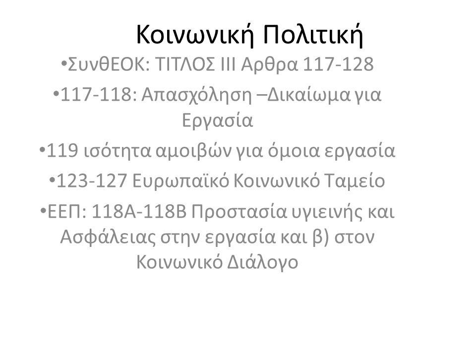 Κοινωνική Πολιτική ΣυνθΕΟΚ: ΤΙΤΛΟΣ ΙΙΙ Αρθρα 117-128 117-118: Απασχόληση –Δικαίωμα για Εργασία 119 ισότητα αμοιβών για όμοια εργασία 123-127 Ευρωπαϊκό Κοινωνικό Ταμείο ΕΕΠ: 118Α-118Β Προστασία υγιεινής και Ασφάλειας στην εργασία και β) στον Κοινωνικό Διάλογο