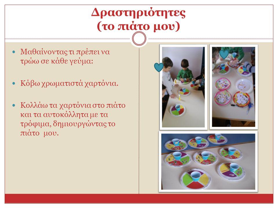 Δραστηριότητες (το πιάτο μου) Μαθαίνοντας τι πρέπει να τρώω σε κάθε γεύμα: Κόβω χρωματιστά χαρτόνια.