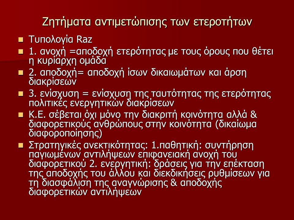 Ζητήματα αντιμετώπισης των ετεροτήτων Τυπολογία Raz Τυπολογία Raz 1.