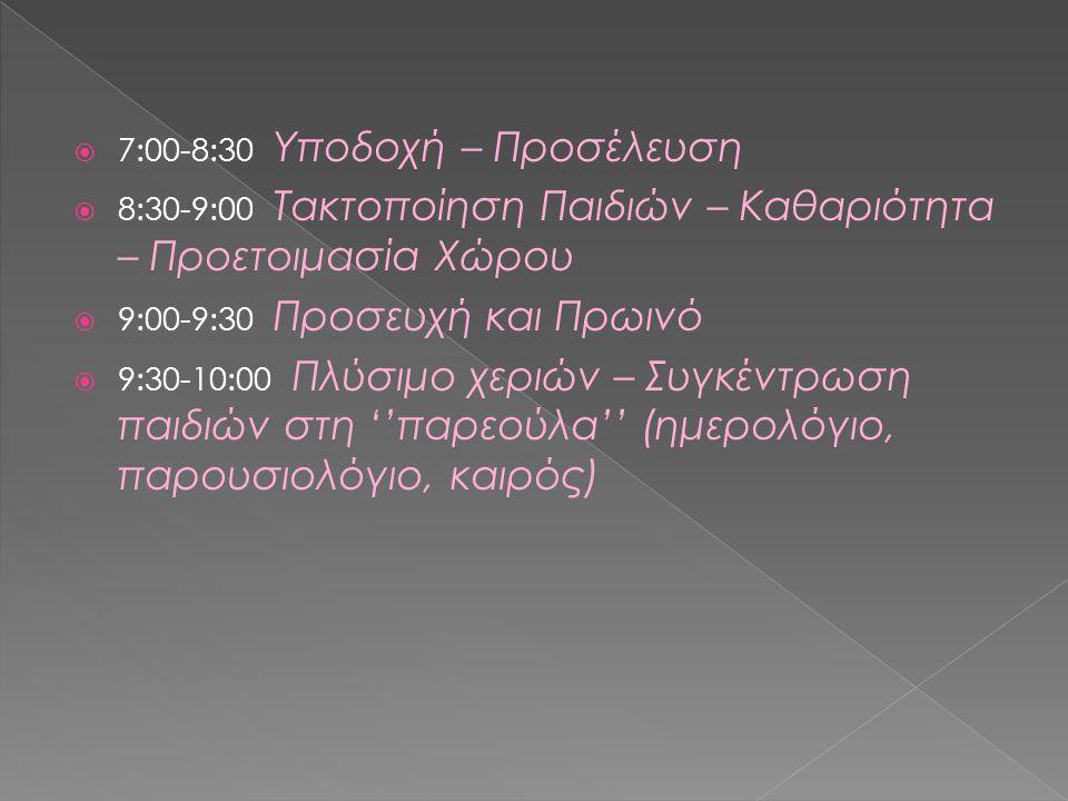  7:00-8:30 Υποδοχή – Προσέλευση  8:30-9:00 Τακτοποίηση Παιδιών – Καθαριότητα – Προετοιμασία Χώρου  9:00-9:30 Προσευχή και Πρωινό  9:30-10:00 Πλύσιμο χεριών – Συγκέντρωση παιδιών στη ''παρεούλα'' (ημερολόγιο, παρουσιολόγιο, καιρός)