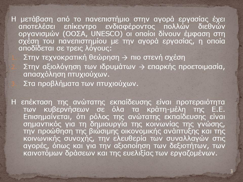 Η μετάβαση από το πανεπιστήμιο στην αγορά εργασίας έχει αποτελέσει επίκεντρο ενδιαφέροντος πολλών διεθνών οργανισμών (ΟΟΣΑ, UNESCO) οι οποίοι δίνουν έμφαση στη σχέση του πανεπιστημίου με την αγορά εργασίας, η οποία αποδίδεται σε τρεις λόγους: 1.