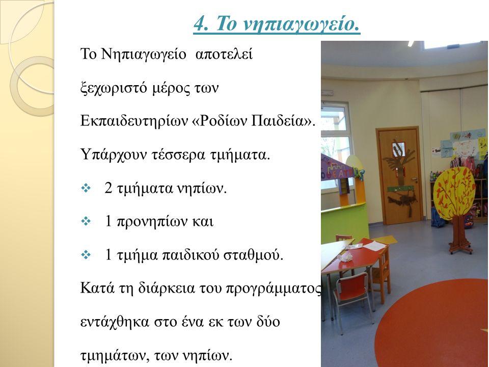 4. Το νηπιαγωγείο. Το Νηπιαγωγείο αποτελεί ξεχωριστό μέρος των Εκπαιδευτηρίων «Ροδίων Παιδεία».