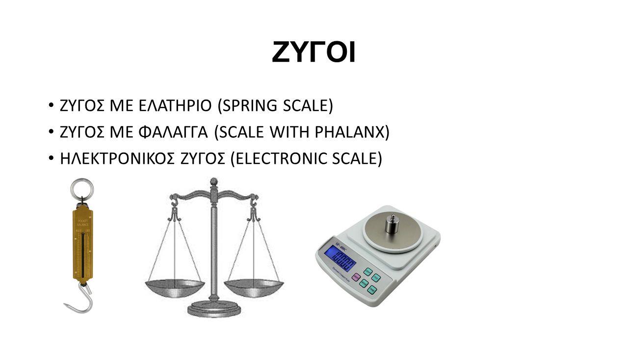 ΖΥΓΟΙ ΖΥΓΟΣ ΜΕ ΕΛΑΤΗΡΙΟ (SPRING SCALE) ΖΥΓΟΣ ΜΕ ΦΑΛΑΓΓΑ (SCALE WITH PHALANX) ΗΛΕΚΤΡΟΝΙΚΟΣ ΖΥΓΟΣ (ELECTRONIC SCALE)
