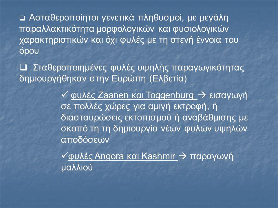 Εγχώριος πληθυσμός αιγών Αντιπροσωπεύουν το μεγαλύτερο ποσοστό του εκτρεφόμενου στην Ελλάδα αίγειου πληθυσμού Δεν είναι γενετικά σταθεροποιημένα Έχουν μεγάλη παραλλακτικότητα μορφολογικών και παραγωγικών χαρακτηριστικών ΠΕΡΙΓΡΑΦΙΚΑ ΣΤΟΙΧΕΙΑ Μάλλον μικρόσωμη Σωματικό Βάρος: τράγοι 40- 65Kg, αίγες 30-50Kg Τόσο οι τράγοι όσο και οι αίγες φέρουν κέρατα Το τρίχωμα, με λίγες εξαιρέσεις, είναι μακρύ και αδρό Ο χρωματισμός παραλλάσσει σε ευρέα όρια Υπάρχουν άτομα μονόχρωμα μαύρα, καστανά, λευκά, κοκκινωπά ή με διάφορους συνδυασμούς