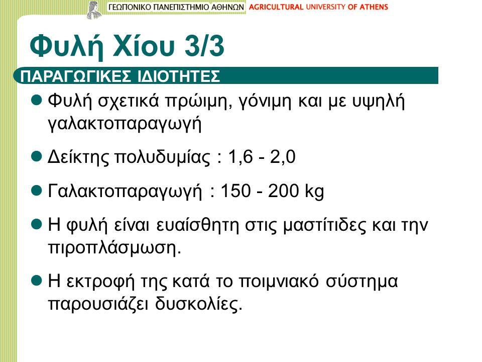 ΠΑΡΑΓΩΓΙΚΕΣ ΙΔΙΟΤΗΤΕΣ Φυλή σχετικά πρώιμη, γόνιμη και με υψηλή γαλακτοπαραγωγή Δείκτης πολυδυμίας : 1,6 - 2,0 Γαλακτοπαραγωγή : 150 - 200 kg Η φυλή είναι ευαίσθητη στις μαστίτιδες και την πιροπλάσμωση.