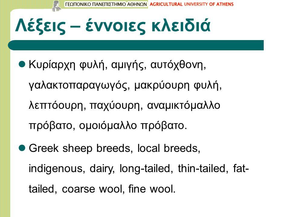 Λέξεις – έννοιες κλειδιά Κυρίαρχη φυλή, αμιγής, αυτόχθονη, γαλακτοπαραγωγός, μακρύουρη φυλή, λεπτόουρη, παχύουρη, αναμικτόμαλλο πρόβατο, ομοιόμαλλο πρόβατο.