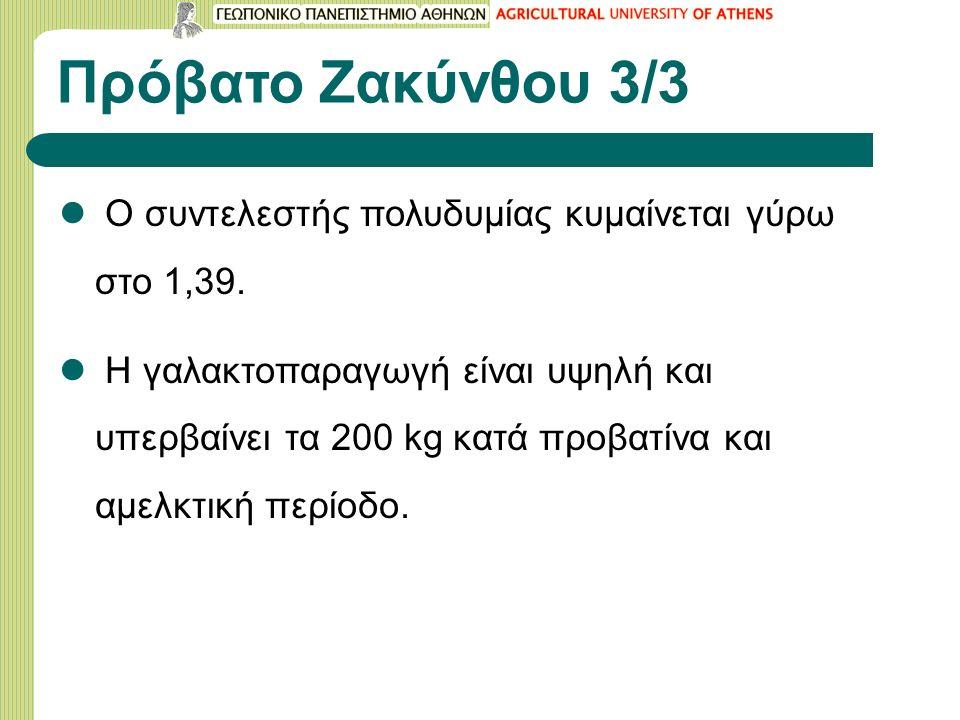 Πρόβατο Ζακύνθου 3/3 Ο συντελεστής πολυδυμίας κυμαίνεται γύρω στο 1,39.