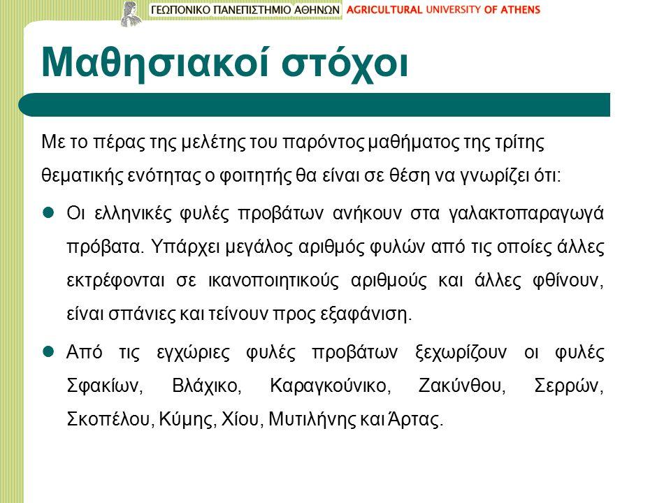 Μαθησιακοί στόχοι Με το πέρας της μελέτης του παρόντος μαθήματος της τρίτης θεματικής ενότητας ο φοιτητής θα είναι σε θέση να γνωρίζει ότι: Οι ελληνικές φυλές προβάτων ανήκουν στα γαλακτοπαραγωγά πρόβατα.