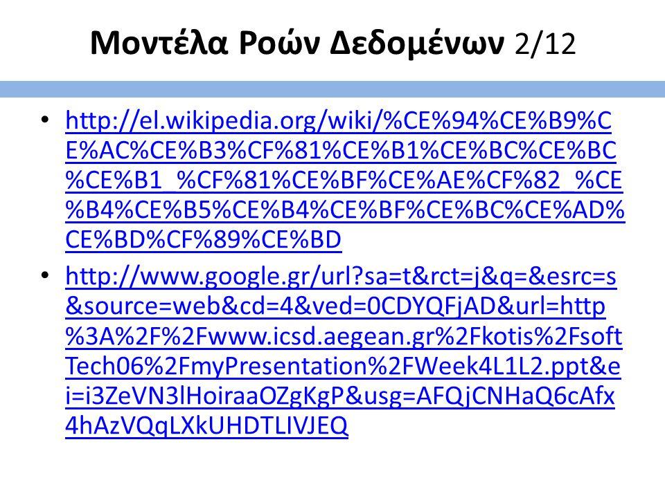 Μοντέλα Ροών Δεδομένων 2/12 http://el.wikipedia.org/wiki/%CE%94%CE%B9%C E%AC%CE%B3%CF%81%CE%B1%CE%BC%CE%BC %CE%B1_%CF%81%CE%BF%CE%AE%CF%82_%CE %B4%CE%B5%CE%B4%CE%BF%CE%BC%CE%AD% CE%BD%CF%89%CE%BD http://el.wikipedia.org/wiki/%CE%94%CE%B9%C E%AC%CE%B3%CF%81%CE%B1%CE%BC%CE%BC %CE%B1_%CF%81%CE%BF%CE%AE%CF%82_%CE %B4%CE%B5%CE%B4%CE%BF%CE%BC%CE%AD% CE%BD%CF%89%CE%BD http://www.google.gr/url?sa=t&rct=j&q=&esrc=s &source=web&cd=4&ved=0CDYQFjAD&url=http %3A%2F%2Fwww.icsd.aegean.gr%2Fkotis%2Fsoft Tech06%2FmyPresentation%2FWeek4L1L2.ppt&e i=i3ZeVN3lHoiraaOZgKgP&usg=AFQjCNHaQ6cAfx 4hAzVQqLXkUHDTLIVJEQ http://www.google.gr/url?sa=t&rct=j&q=&esrc=s &source=web&cd=4&ved=0CDYQFjAD&url=http %3A%2F%2Fwww.icsd.aegean.gr%2Fkotis%2Fsoft Tech06%2FmyPresentation%2FWeek4L1L2.ppt&e i=i3ZeVN3lHoiraaOZgKgP&usg=AFQjCNHaQ6cAfx 4hAzVQqLXkUHDTLIVJEQ