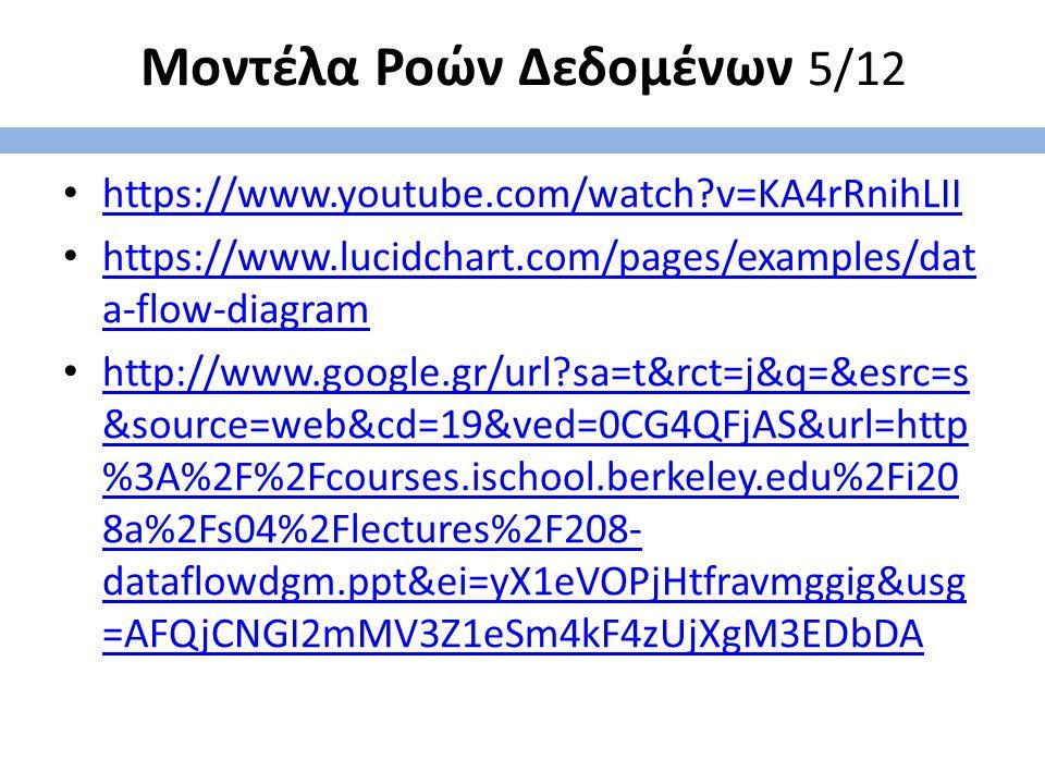 Μοντέλα Ροών Δεδομένων 5/12 https://www.youtube.com/watch?v=KA4rRnihLII https://www.lucidchart.com/pages/examples/dat a-flow-diagram https://www.lucid