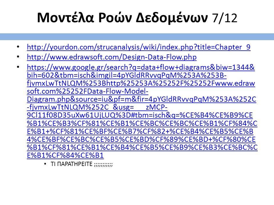 Μοντέλα Ροών Δεδομένων 7/12 http://yourdon.com/strucanalysis/wiki/index.php?title=Chapter_9 http://www.edrawsoft.com/Design-Data-Flow.php https://www.