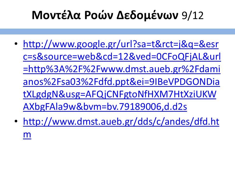 Μοντέλα Ροών Δεδομένων 9/12 http://www.google.gr/url?sa=t&rct=j&q=&esr c=s&source=web&cd=12&ved=0CFoQFjAL&url =http%3A%2F%2Fwww.dmst.aueb.gr%2Fdami anos%2Fsa03%2Fdfd.ppt&ei=9IBeVPDGONDia tXLgdgN&usg=AFQjCNFgtoNfHXM7HtXziUKW AXbgFAla9w&bvm=bv.79189006,d.d2s http://www.google.gr/url?sa=t&rct=j&q=&esr c=s&source=web&cd=12&ved=0CFoQFjAL&url =http%3A%2F%2Fwww.dmst.aueb.gr%2Fdami anos%2Fsa03%2Fdfd.ppt&ei=9IBeVPDGONDia tXLgdgN&usg=AFQjCNFgtoNfHXM7HtXziUKW AXbgFAla9w&bvm=bv.79189006,d.d2s http://www.dmst.aueb.gr/dds/c/andes/dfd.ht m http://www.dmst.aueb.gr/dds/c/andes/dfd.ht m