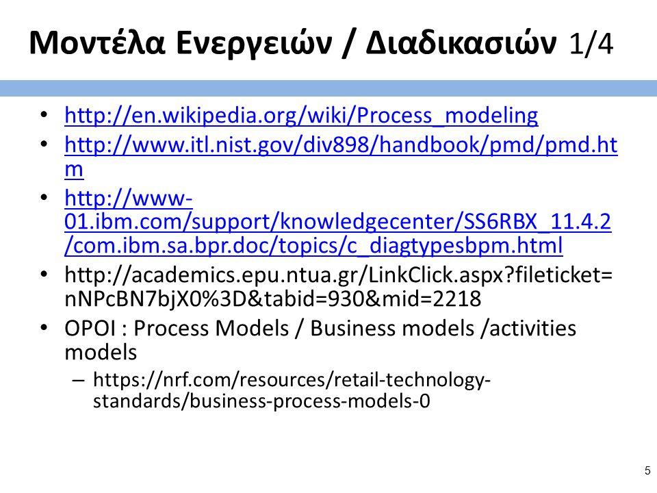 Μοντέλα Ενεργειών / Διαδικασιών 1/4 http://en.wikipedia.org/wiki/Process_modeling http://www.itl.nist.gov/div898/handbook/pmd/pmd.ht m http://www.itl.