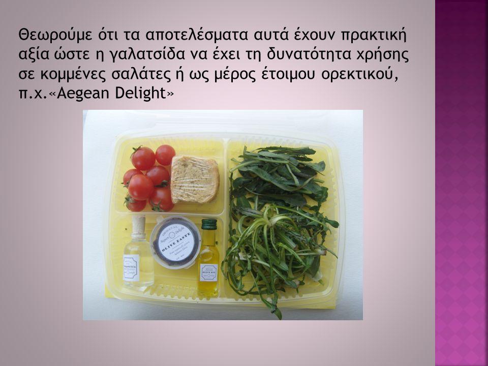 Θεωρούμε ότι τα αποτελέσματα αυτά έχουν πρακτική αξία ώστε η γαλατσίδα να έχει τη δυνατότητα χρήσης σε κομμένες σαλάτες ή ως μέρος έτοιμου ορεκτικού, π.χ.«Aegean Delight»
