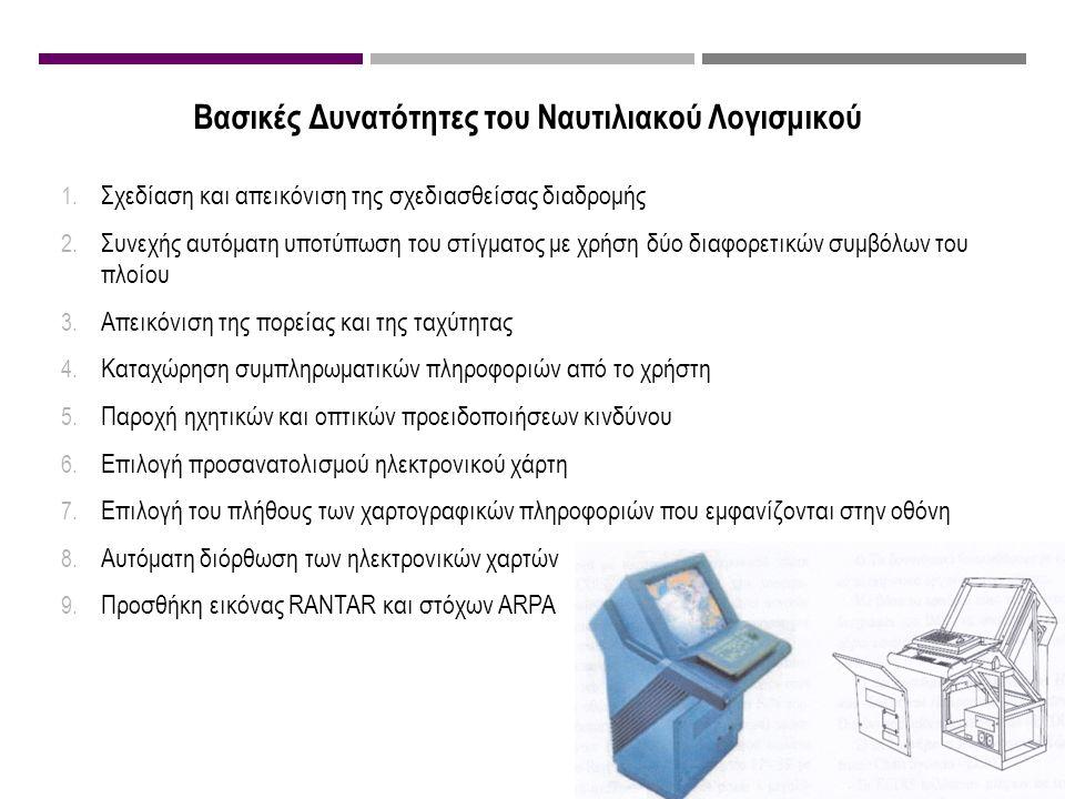 Βασικές Δυνατότητες του Ναυτιλιακού Λογισμικού 1. Σχεδίαση και απεικόνιση της σχεδιασθείσας διαδρομής 2. Συνεχής αυτόματη υποτύπωση του στίγματος με χ
