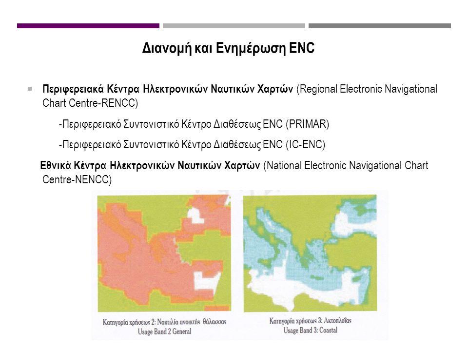 Διανομή και Ενημέρωση ENC  Περιφερειακά Κέντρα Ηλεκτρονικών Ναυτικών Χαρτών (Regional Electronic Navigational Chart Centre-RENCC) -Περιφερειακό Συντονιστικό Κέντρο Διαθέσεως ENC (PRIMAR) -Περιφερειακό Συντονιστικό Κέντρο Διαθέσεως ENC (IC-ENC) Εθνικά Κέντρα Ηλεκτρονικών Ναυτικών Χαρτών (National Electronic Navigational Chart Centre-NENCC)