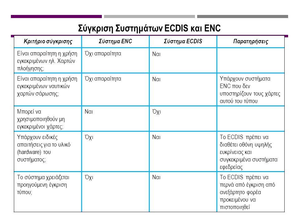 Σύγκριση Συστημάτων ECDIS και ENC Κριτήριο σύγκρισηςΣύστημα ENCΣύστημα ECDISΠαρατηρήσεις Είναι απαραίτητη η χρήση εγκεκριμένων ηλ.