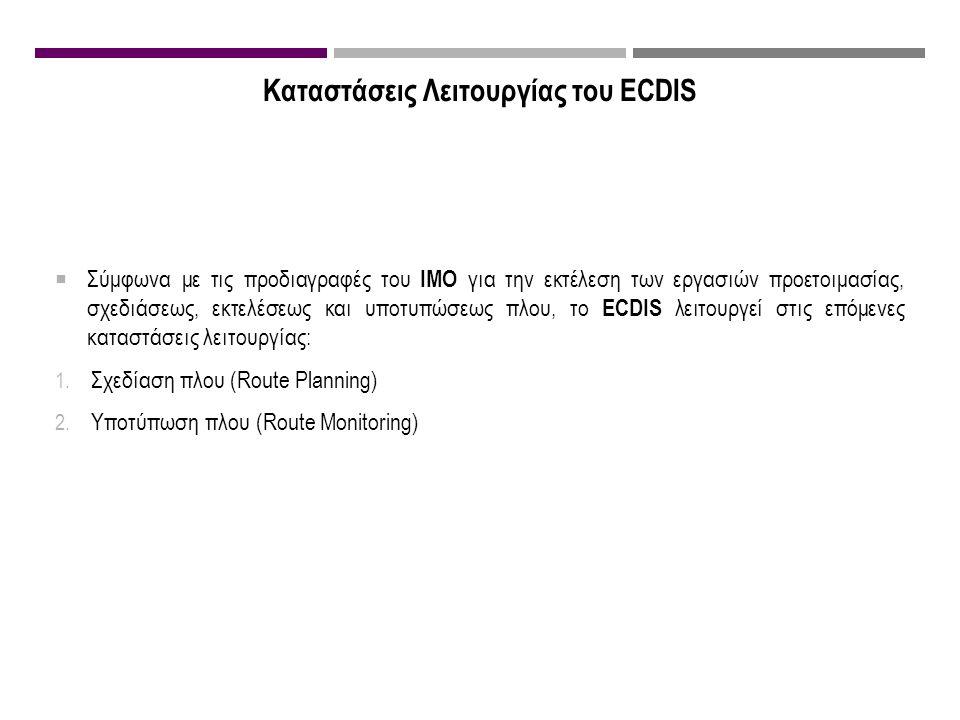 Καταστάσεις Λειτουργίας του ECDIS  Σύμφωνα με τις προδιαγραφές του IMO για την εκτέλεση των εργασιών προετοιμασίας, σχεδιάσεως, εκτελέσεως και υποτυπώσεως πλου, το ECDIS λειτουργεί στις επόμενες καταστάσεις λειτουργίας: 1.