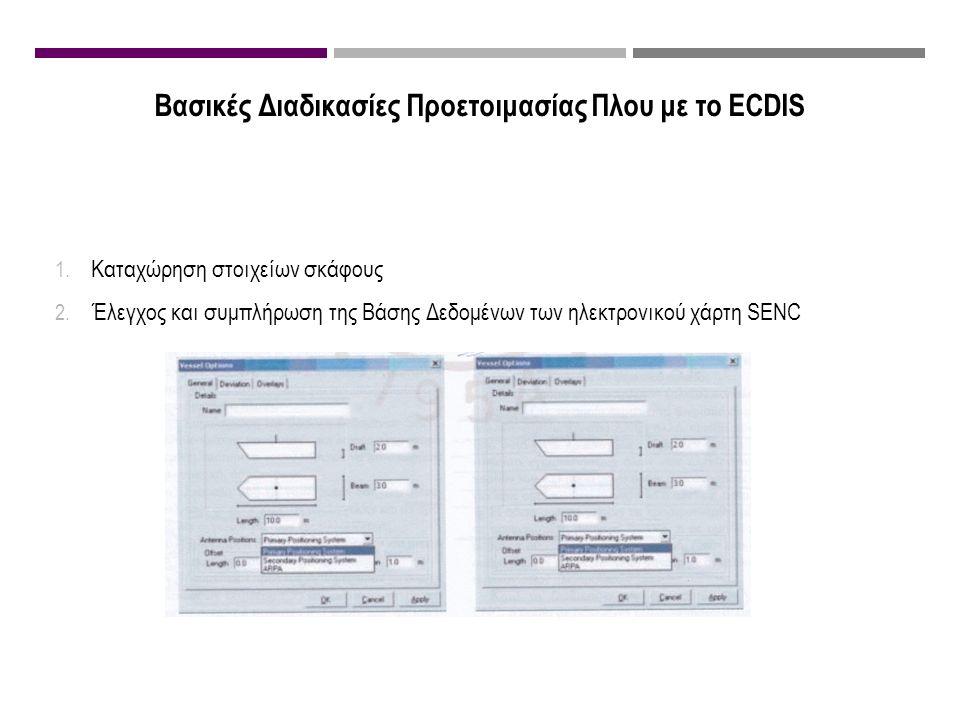 Βασικές Διαδικασίες Προετοιμασίας Πλου με το ECDIS 1. Καταχώρηση στοιχείων σκάφους 2. Έλεγχος και συμπλήρωση της Βάσης Δεδομένων των ηλεκτρονικού χάρτ