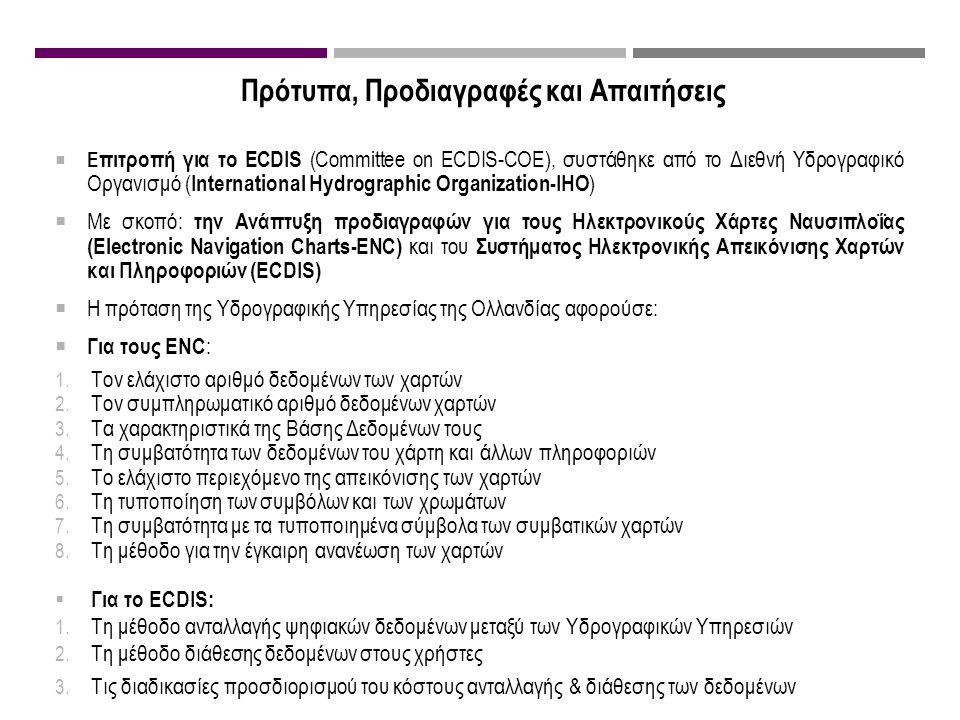 Πρότυπα, Προδιαγραφές και Απαιτήσεις  Ε πιτροπή για το ECDIS (Committee on ECDIS-COE), συστάθηκε από το Διεθνή Υδρογραφικό Οργανισμό ( International Hydrographic Organization-IHO )  Με σκοπό: την Ανάπτυξη προδιαγραφών για τους Ηλεκτρονικούς Χάρτες Ναυσιπλοΐας (Electronic Navigation Charts-ENC) και του Συστήματος Ηλεκτρονικής Απεικόνισης Χαρτών και Πληροφοριών (ECDIS)  Η πρόταση της Υδρογραφικής Υπηρεσίας της Ολλανδίας αφορούσε:  Για τους ENC : 1.