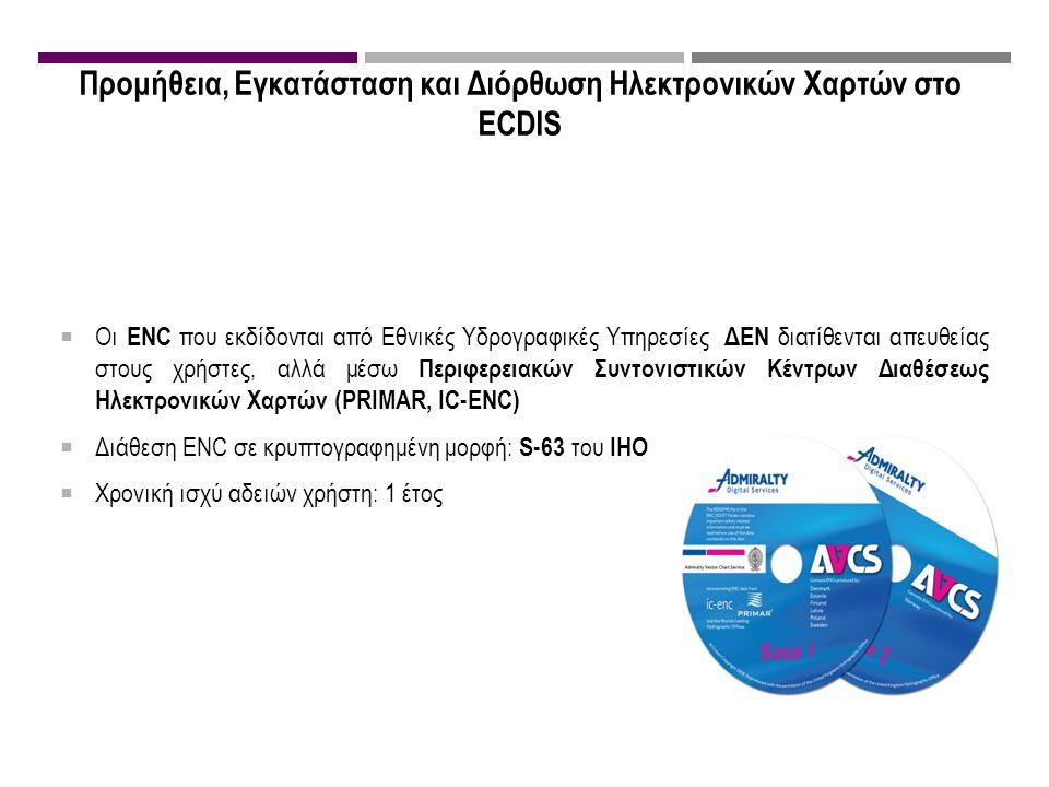 Προμήθεια, Εγκατάσταση και Διόρθωση Ηλεκτρονικών Χαρτών στο ECDIS  Οι ENC που εκδίδονται από Εθνικές Υδρογραφικές Υπηρεσίες ΔΕΝ διατίθενται απευθείας στους χρήστες, αλλά μέσω Περιφερειακών Συντονιστικών Κέντρων Διαθέσεως Ηλεκτρονικών Χαρτών (PRIMAR, IC-ENC)  Διάθεση ENC σε κρυπτογραφημένη μορφή: S-63 του IHO  Χρονική ισχύ αδειών χρήστη: 1 έτος