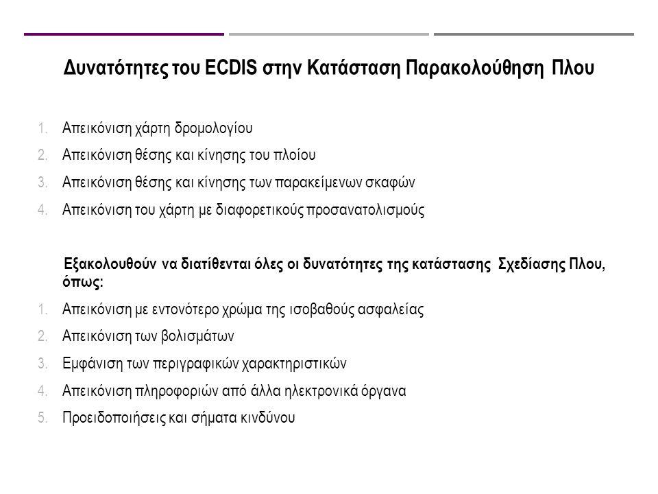 Δυνατότητες του ECDIS στην Κατάσταση Παρακολούθηση Πλου 1. Απεικόνιση χάρτη δρομολογίου 2. Απεικόνιση θέσης και κίνησης του πλοίου 3. Απεικόνιση θέσης