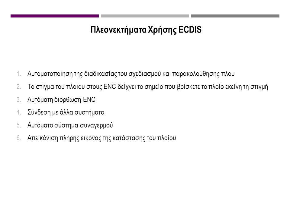Πλεονεκτήματα Χρήσης ECDIS 1. Αυτοματοποίηση της διαδικασίας του σχεδιασμού και παρακολούθησης πλου 2. Το στίγμα του πλοίου στους ENC δείχνει το σημεί