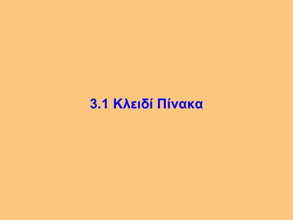 3 3.1 Κλειδί Πίνακα