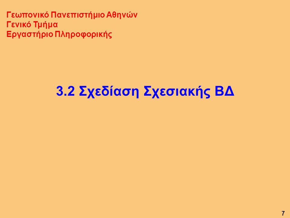 3.2 Σχεδίαση Σχεσιακής ΒΔ Γεωπονικό Πανεπιστήμιο Αθηνών Γενικό Τμήμα Εργαστήριο Πληροφορικής 7