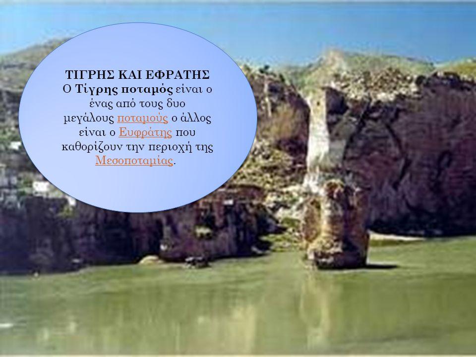 ΤΙΓΡΗΣ ΚΑΙ ΕΦΡΑΤΗΣ Ο Τίγρης ποταμός είναι ο ένας από τους δυο μεγάλους ποταμούς ο άλλος είναι ο Ευφράτης που καθορίζουν την περιοχή της Μεσοποταμίας.
