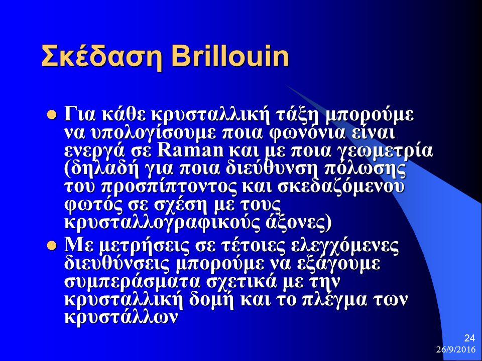 26/9/2016 24 Σκέδαση Brillouin Για κάθε κρυσταλλική τάξη μπορούμε να υπολογίσουμε ποια φωνόνια είναι ενεργά σε Raman και με ποια γεωμετρία (δηλαδή για ποια διεύθυνση πόλωσης του προσπίπτοντος και σκεδαζόμενου φωτός σε σχέση με τους κρυσταλλογραφικούς άξονες) Για κάθε κρυσταλλική τάξη μπορούμε να υπολογίσουμε ποια φωνόνια είναι ενεργά σε Raman και με ποια γεωμετρία (δηλαδή για ποια διεύθυνση πόλωσης του προσπίπτοντος και σκεδαζόμενου φωτός σε σχέση με τους κρυσταλλογραφικούς άξονες) Με μετρήσεις σε τέτοιες ελεγχόμενες διευθύνσεις μπορούμε να εξάγουμε συμπεράσματα σχετικά με την κρυσταλλική δομή και το πλέγμα των κρυστάλλων Με μετρήσεις σε τέτοιες ελεγχόμενες διευθύνσεις μπορούμε να εξάγουμε συμπεράσματα σχετικά με την κρυσταλλική δομή και το πλέγμα των κρυστάλλων