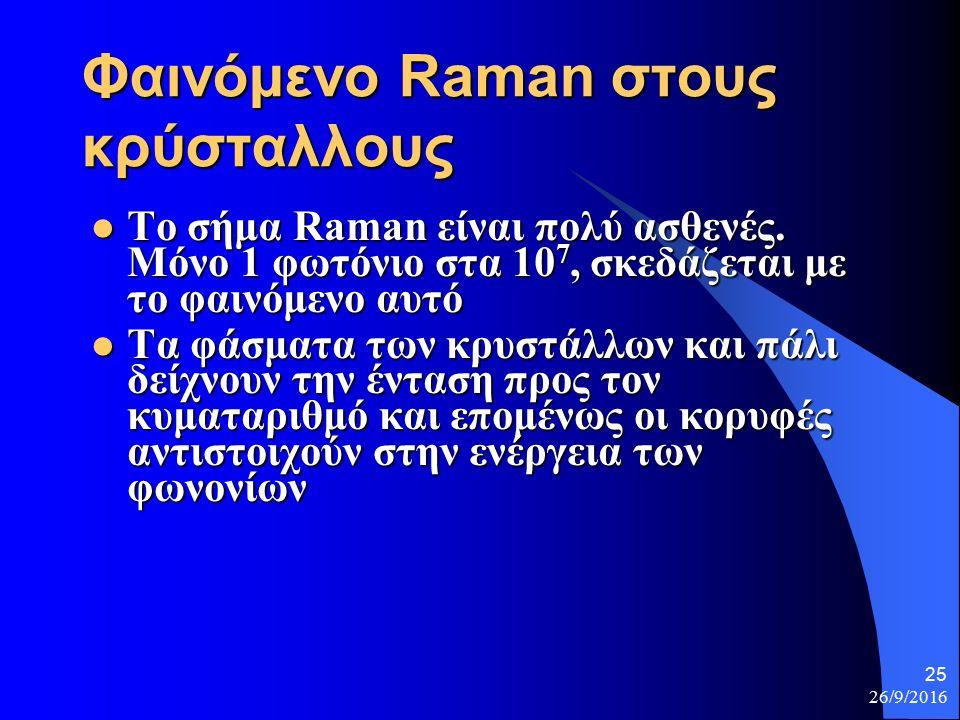 26/9/2016 25 Φαινόμενο Raman στους κρύσταλλους Το σήμα Raman είναι πολύ ασθενές.