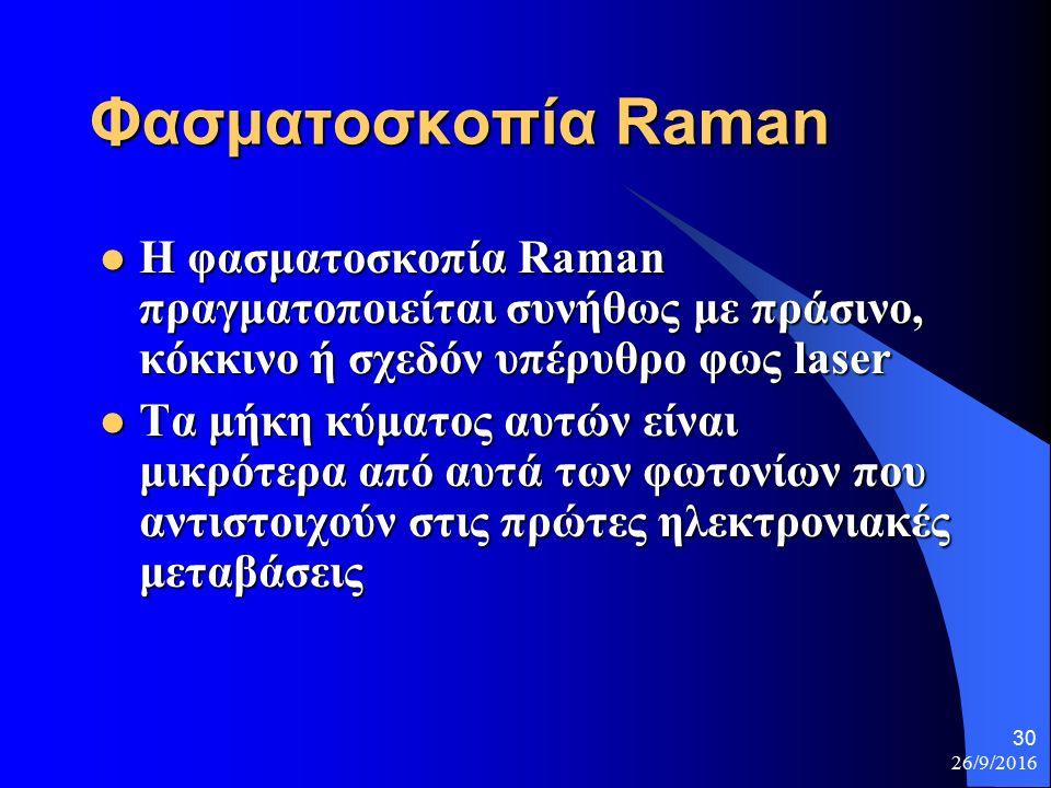 26/9/2016 30 Φασματοσκοπία Raman Η φασματοσκοπία Raman πραγματοποιείται συνήθως με πράσινο, κόκκινο ή σχεδόν υπέρυθρο φως laser Η φασματοσκοπία Raman πραγματοποιείται συνήθως με πράσινο, κόκκινο ή σχεδόν υπέρυθρο φως laser Τα μήκη κύματος αυτών είναι μικρότερα από αυτά των φωτονίων που αντιστοιχούν στις πρώτες ηλεκτρονιακές μεταβάσεις Τα μήκη κύματος αυτών είναι μικρότερα από αυτά των φωτονίων που αντιστοιχούν στις πρώτες ηλεκτρονιακές μεταβάσεις