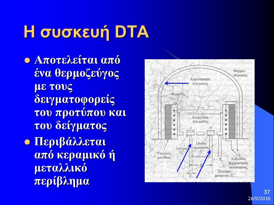 26/9/2016 37 Η συσκευή DTA Αποτελείται από ένα θερμοζεύγος με τους δειγματοφορείς του προτύπου και του δείγματος Αποτελείται από ένα θερμοζεύγος με τους δειγματοφορείς του προτύπου και του δείγματος Περιβάλλεται από κεραμικό ή μεταλλικό περίβλημα Περιβάλλεται από κεραμικό ή μεταλλικό περίβλημα