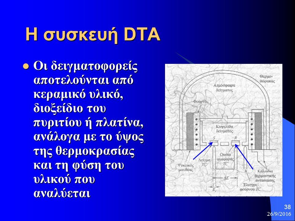 26/9/2016 38 Η συσκευή DTA Οι δειγματοφορείς αποτελούνται από κεραμικό υλικό, διοξείδιο του πυριτίου ή πλατίνα, ανάλογα με το ύψος της θερμοκρασίας και τη φύση του υλικού που αναλύεται Οι δειγματοφορείς αποτελούνται από κεραμικό υλικό, διοξείδιο του πυριτίου ή πλατίνα, ανάλογα με το ύψος της θερμοκρασίας και τη φύση του υλικού που αναλύεται