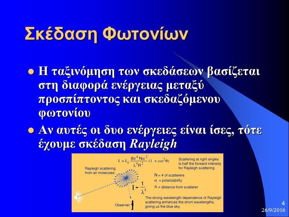 26/9/2016 4 Σκέδαση Φωτονίων Η ταξινόμηση των σκεδάσεων βασίζεται στη διαφορά ενέργειας μεταξύ προσπίπτοντος και σκεδαζόμενου φωτονίου Η ταξινόμηση των σκεδάσεων βασίζεται στη διαφορά ενέργειας μεταξύ προσπίπτοντος και σκεδαζόμενου φωτονίου Αν αυτές οι δυο ενέργειες είναι ίσες, τότε έχουμε σκέδαση Rayleigh Αν αυτές οι δυο ενέργειες είναι ίσες, τότε έχουμε σκέδαση Rayleigh