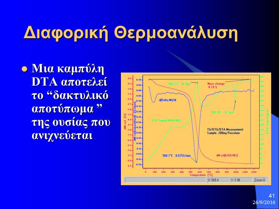 26/9/2016 41 Διαφορική Θερμοανάλυση Μια καμπύλη DTA αποτελεί το δακτυλικό αποτύπωμα της ουσίας που ανιχνεύεται Μια καμπύλη DTA αποτελεί το δακτυλικό αποτύπωμα της ουσίας που ανιχνεύεται