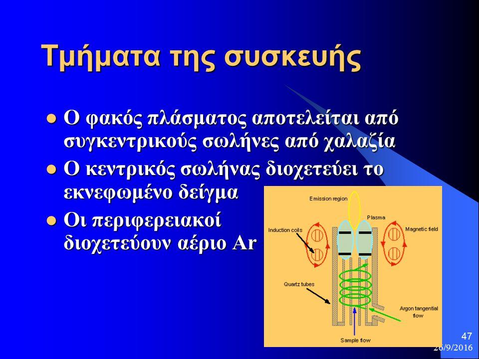 26/9/2016 47 Τμήματα της συσκευής Ο φακός πλάσματος αποτελείται από συγκεντρικούς σωλήνες από χαλαζία Ο φακός πλάσματος αποτελείται από συγκεντρικούς σωλήνες από χαλαζία Ο κεντρικός σωλήνας διοχετεύει το εκνεφωμένο δείγμα Ο κεντρικός σωλήνας διοχετεύει το εκνεφωμένο δείγμα Οι περιφερειακοί διοχετεύουν αέριο Ar Οι περιφερειακοί διοχετεύουν αέριο Ar