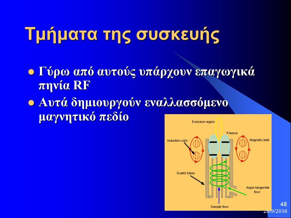 26/9/2016 48 Τμήματα της συσκευής Γύρω από αυτούς υπάρχουν επαγωγικά πηνία RF Γύρω από αυτούς υπάρχουν επαγωγικά πηνία RF Αυτά δημιουργούν εναλλασσόμενο μαγνητικό πεδίο Αυτά δημιουργούν εναλλασσόμενο μαγνητικό πεδίο