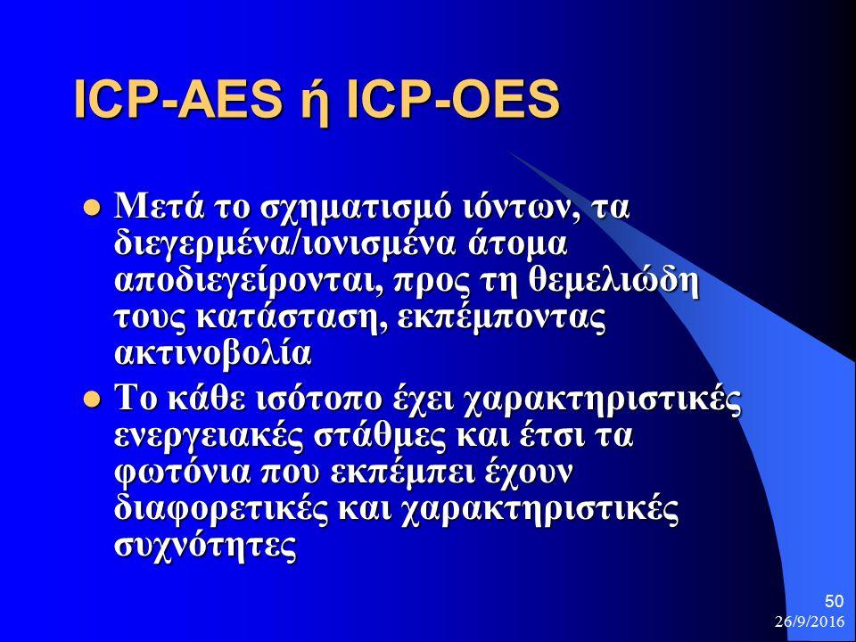 26/9/2016 50 ICP-AES ή ICP-OES Μετά το σχηματισμό ιόντων, τα διεγερμένα/ιονισμένα άτομα αποδιεγείρονται, προς τη θεμελιώδη τους κατάσταση, εκπέμποντας ακτινοβολία Μετά το σχηματισμό ιόντων, τα διεγερμένα/ιονισμένα άτομα αποδιεγείρονται, προς τη θεμελιώδη τους κατάσταση, εκπέμποντας ακτινοβολία Το κάθε ισότοπο έχει χαρακτηριστικές ενεργειακές στάθμες και έτσι τα φωτόνια που εκπέμπει έχουν διαφορετικές και χαρακτηριστικές συχνότητες Το κάθε ισότοπο έχει χαρακτηριστικές ενεργειακές στάθμες και έτσι τα φωτόνια που εκπέμπει έχουν διαφορετικές και χαρακτηριστικές συχνότητες