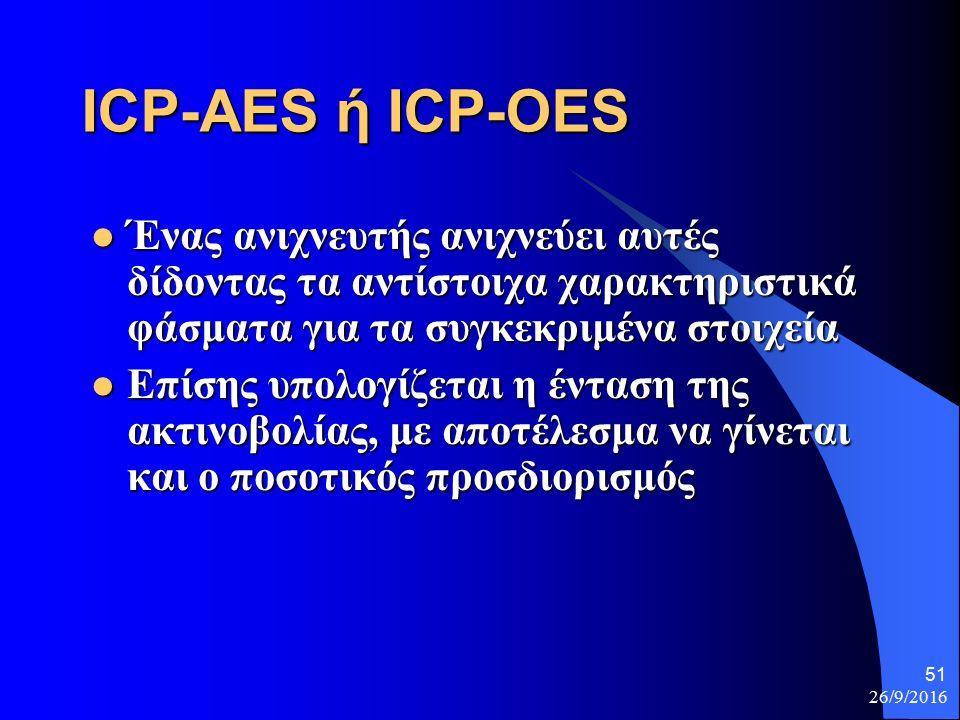 26/9/2016 51 ICP-AES ή ICP-OES Ένας ανιχνευτής ανιχνεύει αυτές δίδοντας τα αντίστοιχα χαρακτηριστικά φάσματα για τα συγκεκριμένα στοιχεία Ένας ανιχνευτής ανιχνεύει αυτές δίδοντας τα αντίστοιχα χαρακτηριστικά φάσματα για τα συγκεκριμένα στοιχεία Επίσης υπολογίζεται η ένταση της ακτινοβολίας, με αποτέλεσμα να γίνεται και ο ποσοτικός προσδιορισμός Επίσης υπολογίζεται η ένταση της ακτινοβολίας, με αποτέλεσμα να γίνεται και ο ποσοτικός προσδιορισμός
