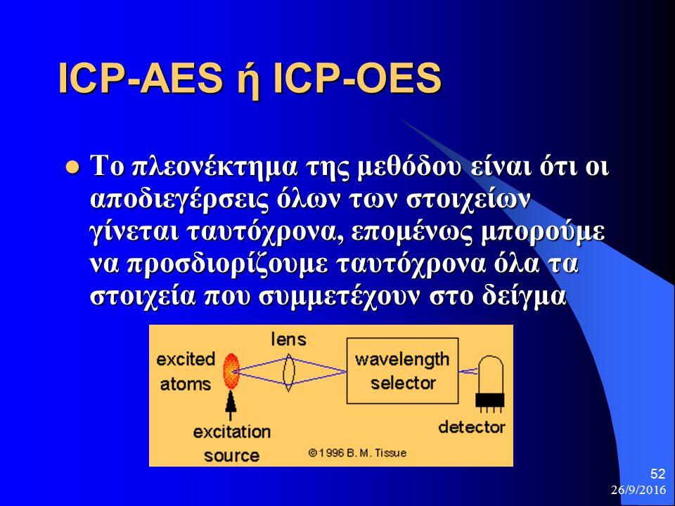 26/9/2016 52 ICP-AES ή ICP-OES Το πλεονέκτημα της μεθόδου είναι ότι οι αποδιεγέρσεις όλων των στοιχείων γίνεται ταυτόχρονα, επομένως μπορούμε να προσδιορίζουμε ταυτόχρονα όλα τα στοιχεία που συμμετέχουν στο δείγμα Το πλεονέκτημα της μεθόδου είναι ότι οι αποδιεγέρσεις όλων των στοιχείων γίνεται ταυτόχρονα, επομένως μπορούμε να προσδιορίζουμε ταυτόχρονα όλα τα στοιχεία που συμμετέχουν στο δείγμα