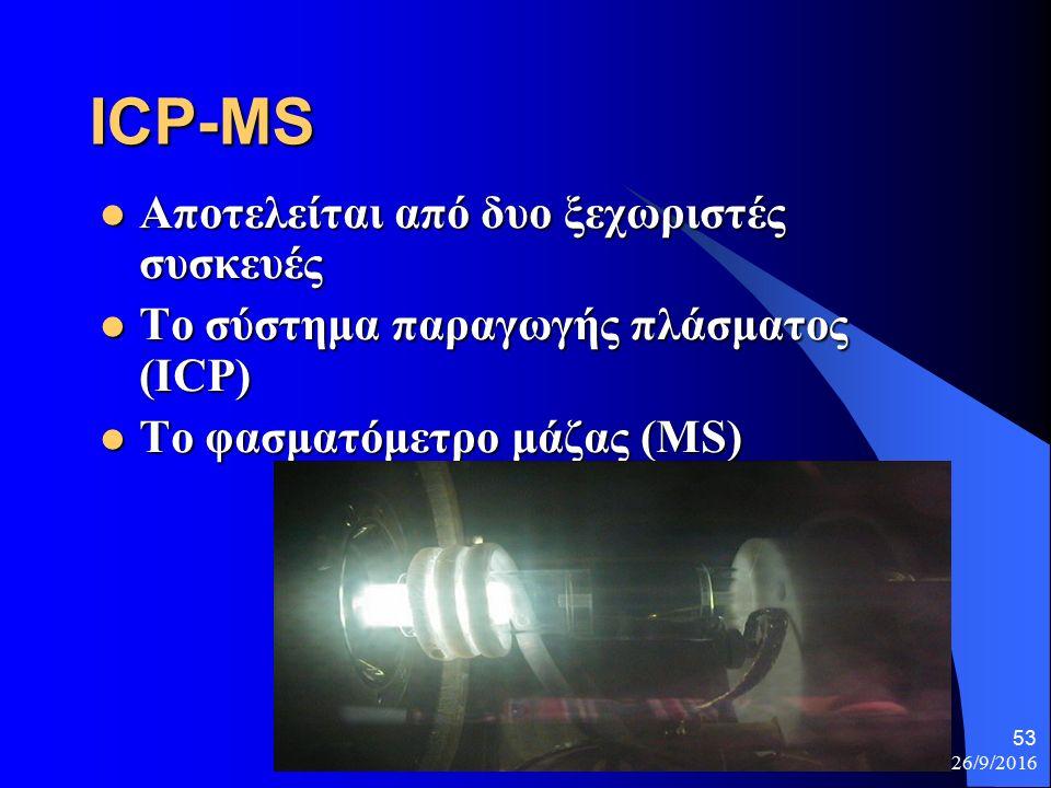 26/9/2016 53 ICP-MS Αποτελείται από δυο ξεχωριστές συσκευές Αποτελείται από δυο ξεχωριστές συσκευές Το σύστημα παραγωγής πλάσματος (ICP) Το σύστημα παραγωγής πλάσματος (ICP) Το φασματόμετρο μάζας (MS) Το φασματόμετρο μάζας (MS)