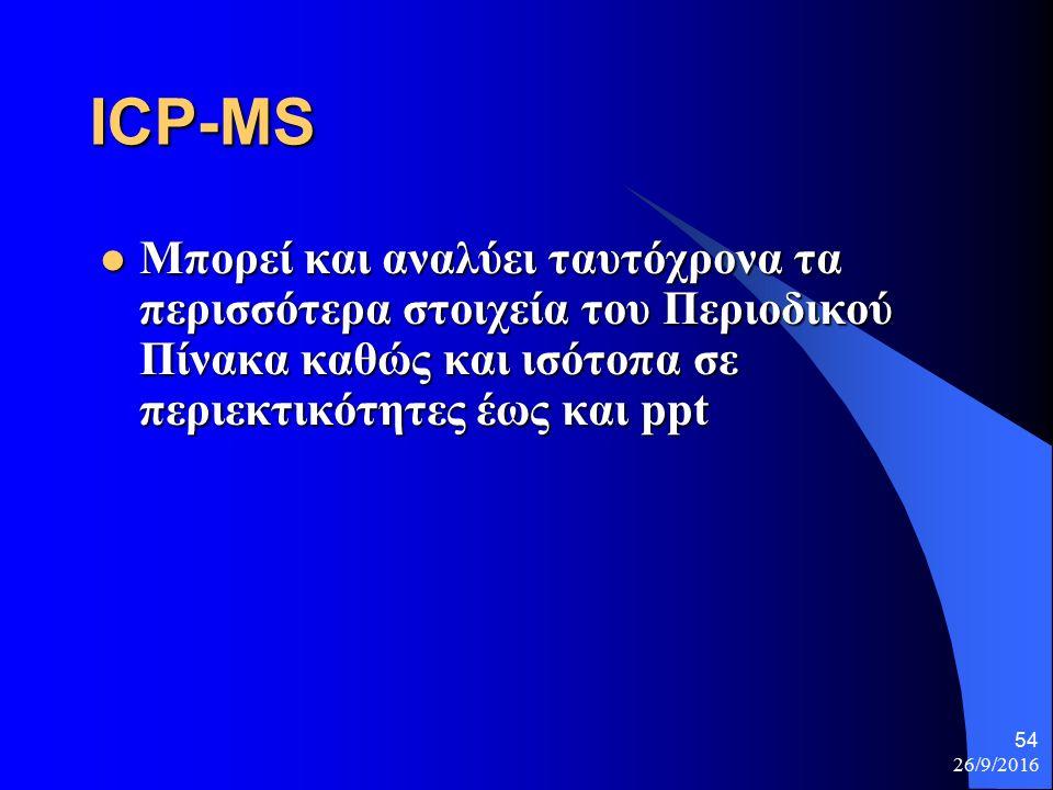 26/9/2016 54 ICP-MS Μπορεί και αναλύει ταυτόχρονα τα περισσότερα στοιχεία του Περιοδικού Πίνακα καθώς και ισότοπα σε περιεκτικότητες έως και ppt Μπορεί και αναλύει ταυτόχρονα τα περισσότερα στοιχεία του Περιοδικού Πίνακα καθώς και ισότοπα σε περιεκτικότητες έως και ppt
