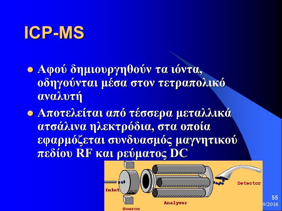 26/9/2016 55 ICP-MS Αφού δημιουργηθούν τα ιόντα, οδηγούνται μέσα στον τετραπολικό αναλυτή Αφού δημιουργηθούν τα ιόντα, οδηγούνται μέσα στον τετραπολικό αναλυτή Αποτελείται από τέσσερα μεταλλικά ατσάλινα ηλεκτρόδια, στα οποία εφαρμόζεται συνδυασμός μαγνητικού πεδίου RF και ρεύματος DC Αποτελείται από τέσσερα μεταλλικά ατσάλινα ηλεκτρόδια, στα οποία εφαρμόζεται συνδυασμός μαγνητικού πεδίου RF και ρεύματος DC